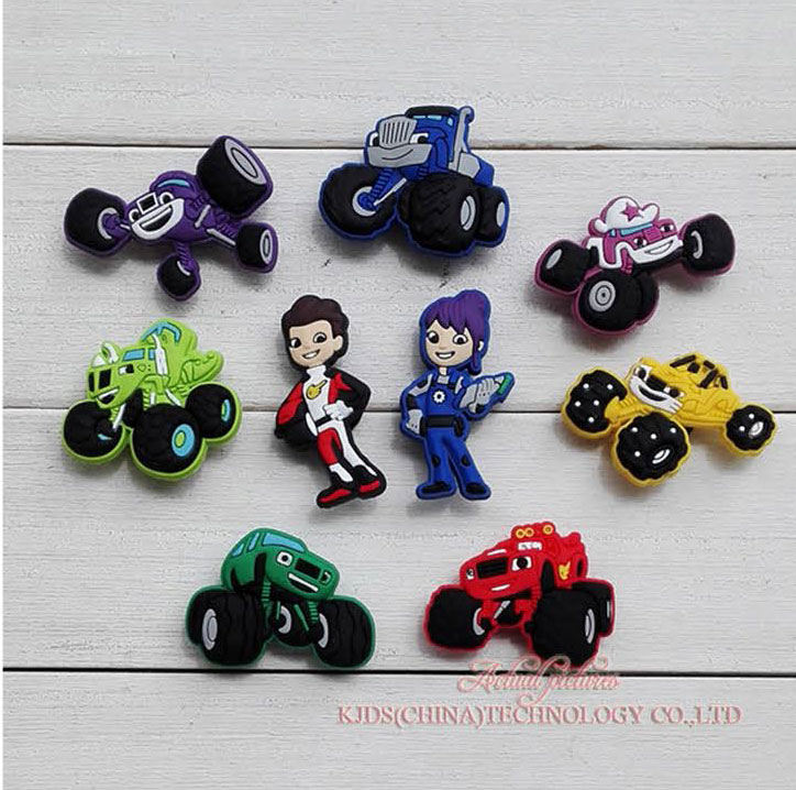 Single Sale 1pc Monster Truck Racing PVC Shoe Charms,Shoe Buckles Accessories Fit Bands Bracelets Croc JIBZ,Kids Party X Gifts