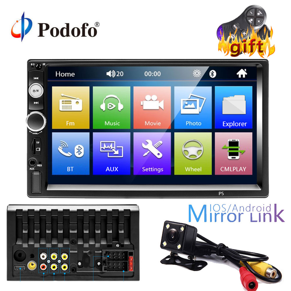 Podofo 2 din car radio 7 MP5 Player Touch Screen Digital Display Bluetooth Multimedia USB/DVR/FM/mirror link 2din AutoradioPodofo 2 din car radio 7 MP5 Player Touch Screen Digital Display Bluetooth Multimedia USB/DVR/FM/mirror link 2din Autoradio