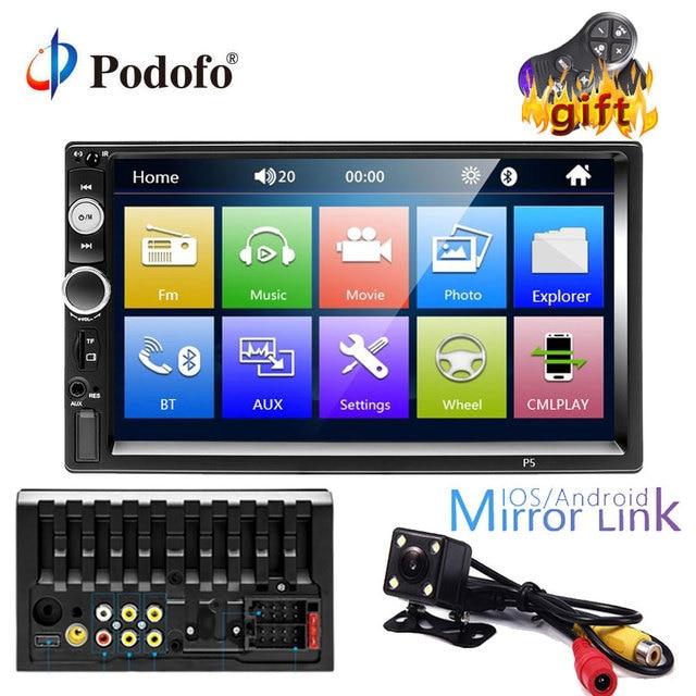 "Podofo 2 din car radio 7"" MP5 Player Touch Screen Digital Display Bluetooth Multimedia USB/DVR/FM/mirror link 2din Autoradio"