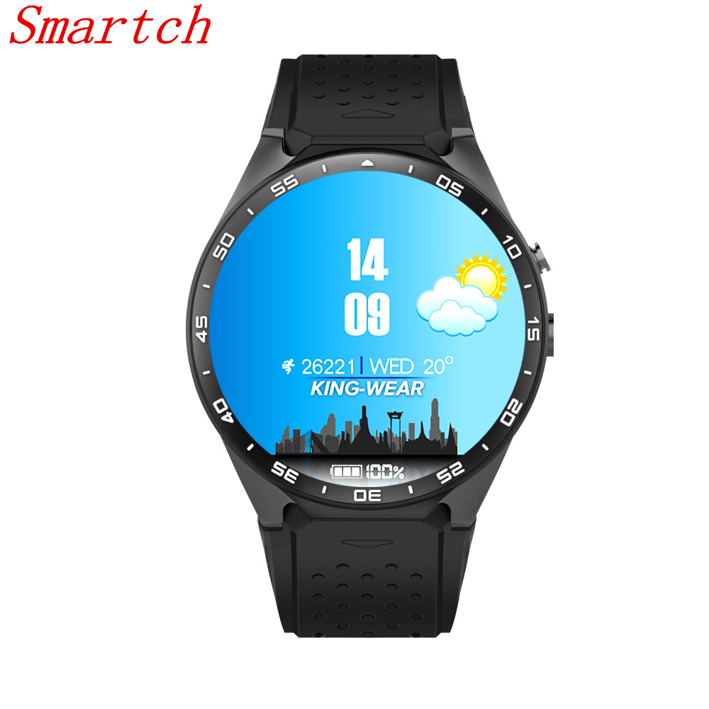 Smartch bluetooth Smart font b Watch b font KW18 Round Screen support SIM TF card Heart