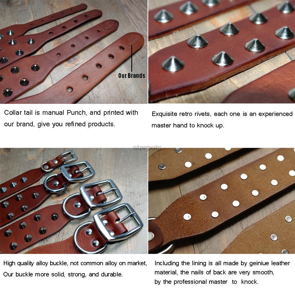 Cool Rivets Studded Best Genuine Leather Pet Dog Collars For Small - Producten voor huisdieren - Foto 4