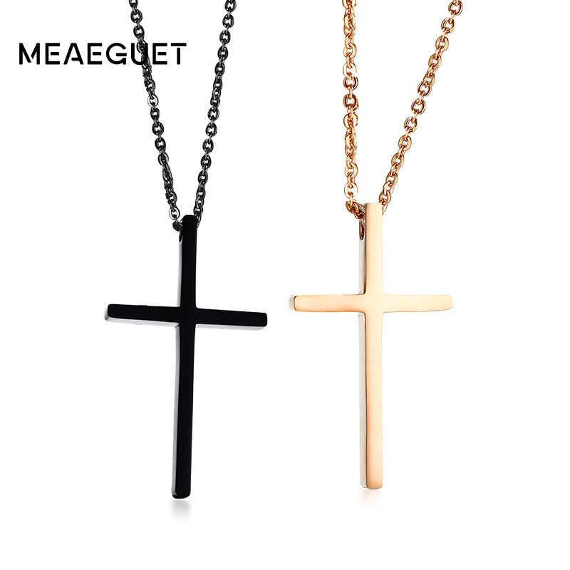 Meaeguet クリスチャンの愛クロスペンダントイエスネックレスカップルのためのステンレス鋼宗教コリアージュエリー