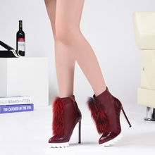 Brand Pink Palms high heels  ankle boots for women winter snow boots with fox fur thick platform plush women boots