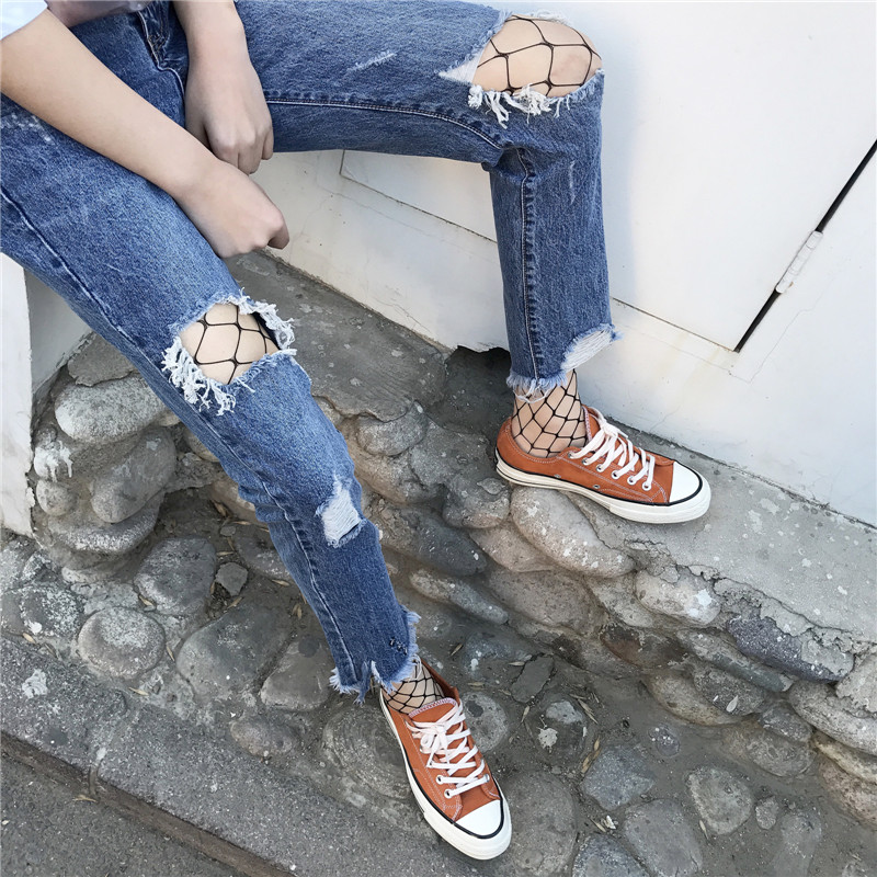 New spring and summer 2017 burr hole small straight legged jeans schoolgirl Haren loose skinny pants nine XY4016
