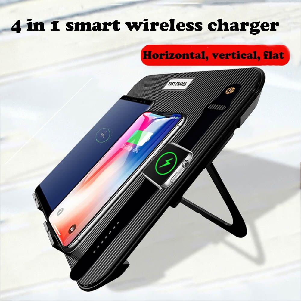 Chargeur 4 en 1 Qi sans fil pour Apple Watch 1 2 3 4 Iphone 8 X XR XS Samsung Note 8 S8 chargement Vertical sans fil rapide pliable
