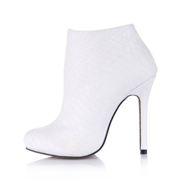 Hot Sexy Stiletto Ultra High Heels Ankle Boots Classic White Women