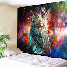 Wolf Warrior Tapestry Dreamcatcher Wall Hanging Psychedelic Galaxy Space Boho Decor Animal Sheets Beach Yoga Mat