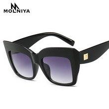 2019 Fashion Oversized Cat Eye Sunglasses Women Brand Designer Female Gradient Points Sun Glasses Oculos feminino de sol UV400