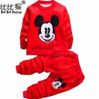 Nuevo Otoño/Invierno de los bebés que arropan los niños de terciopelo ropa caliente de los cabritos historieta de las muchachas abrigos + pantalones trajes traje de navidad