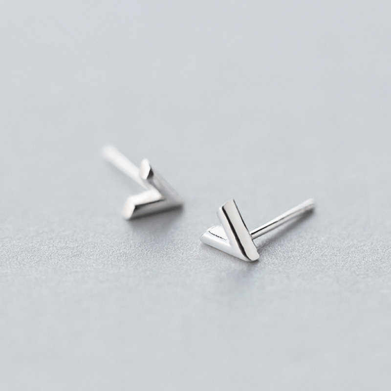 Authentic 925 Sterling Silver Letter Stud Earrings for Women Girls Gift Fashion Cut Wedding Jewelry Bijoux Pendientes EH881