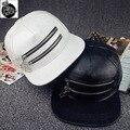 2016 nova couro PU boné de beisebol cap hop chapéu maré sólida zipper beirais planas tampas Osso NY