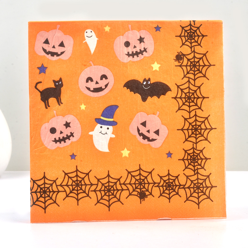 20PCS Paper Napkin 100% Virgin Wood Tissue Paper Napkins For Home Halloween Pumpkin Bat Cobwab Ghost Napkin Party Decoration