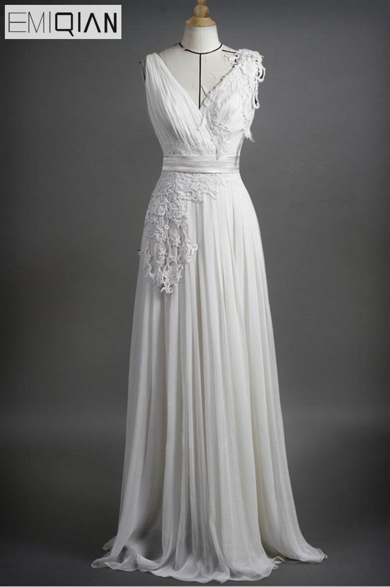 0b7072424bb Бесплатная доставка Дешевые колонки v-образным вырезом Аппликация шифон  невесты свадебное платье