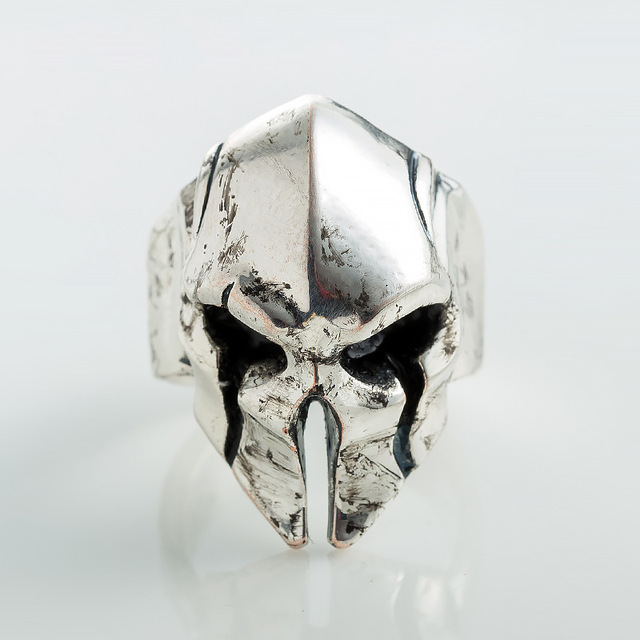 Topdudes.com - Spartan Helmet Mask Ring