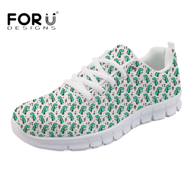 FORUDESIGNS Kawaii Animal Dinosaur Boxer Dog Printing Women Casual Flats Light Mesh Sneakers for Students Breathable Flat Shoes instantarts women flats emoji face smile pattern summer air mesh beach flat shoes for youth girls mujer casual light sneakers