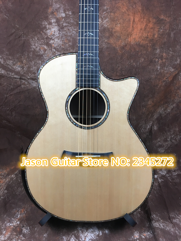 Manual guitar customiz + body cut Chaylor acoustic guitar all real abalone solid top 9 14 electric acoustic guitar free shipping plus laser cut solid top