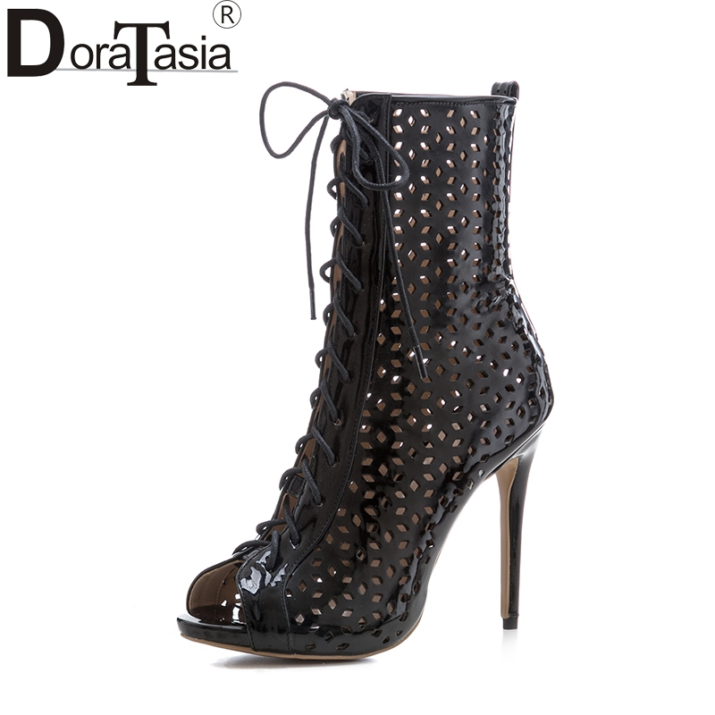DoraTasia New Big Size 33-43 Brand Design Shoes Summer Boots Thin High Heels Top Quality Party Gladiator Shoes Women doratasia denim eourpean style big size 33 43 pointed toe women shoes sexy thin high heel brand design lady pumps party wedding
