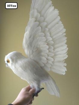 big lifelike white owl model foam&furs wings simulation owl doll gift about 32x60cm xf0480