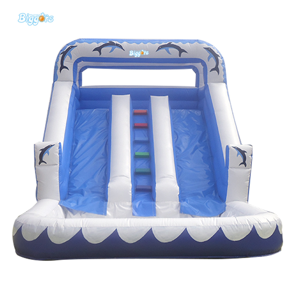 Water Park Inflatable Double Slide Inflatable Giant Slide With Pool For Playing commercial inflatable water slide with pool made of pvc tarpaulin from guangzhou inflatable manufacturer