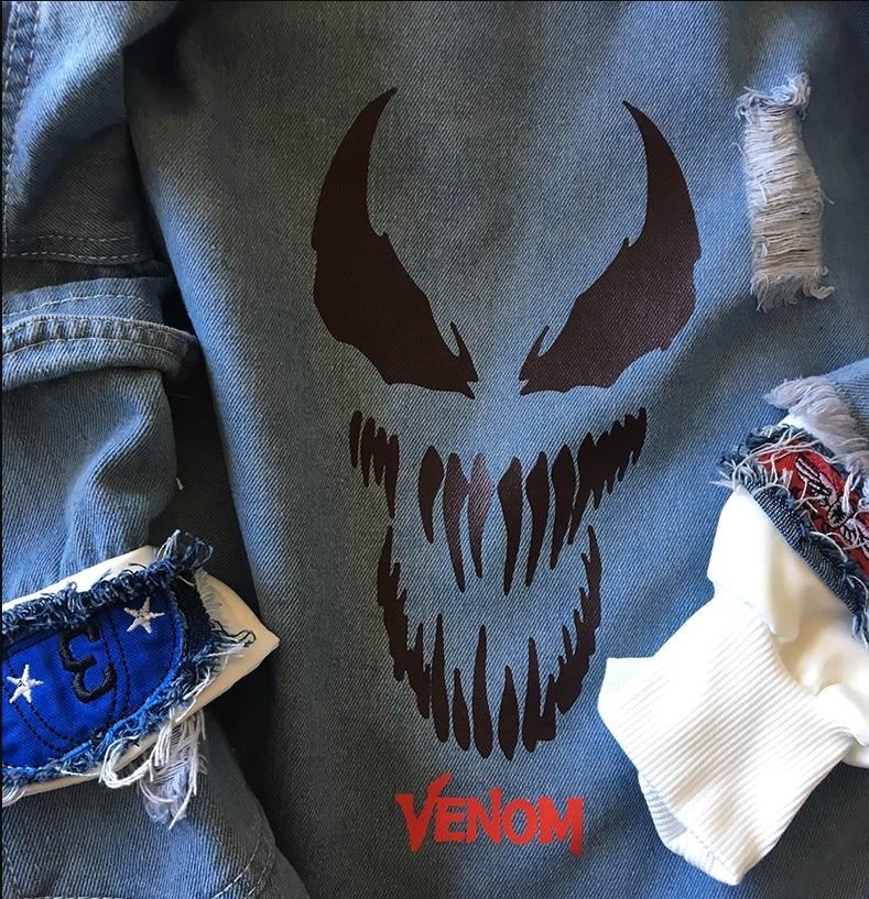 2 En À Hoodied La Venom Nouveau 1 man 2019 Hommes Réfléchir Jean Mode Manteau Lumière Capuche Film Jeans Femmes Spider Veste IRTqgwF