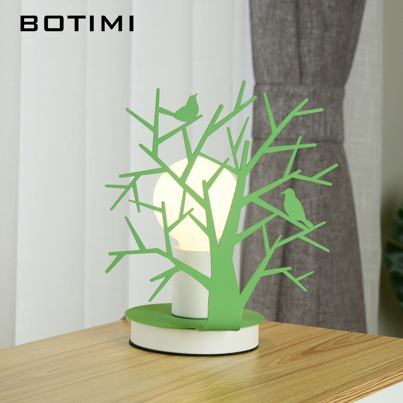 BOTIMI LED Table Lamp In Tree Shape For lIving Room Green Desk lights White Reading Lamps Nordic E27 Wooden Luminaria botimi wooden table lamp with fabric lampshade bedside desk lights lamparas de mesa book lamps deco luminaria reading lighting