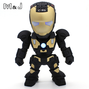 M&J Hands Free Wireless Bluetooth Speaker LED Transformers Iron Man Robots Subwoofer With FM Radio Support TF Card for Phone PC