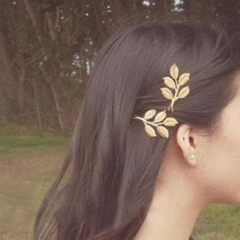 Fashion Wedding Hair Accessories Olive Branches Leaves Beautiful Bride Hairpin Side