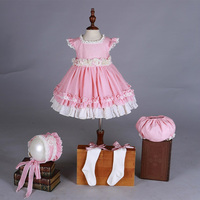 kid girls Lolita birthday dress pink lace big bow princess dress + shorts + hat baby court style clothes children cosplay dress