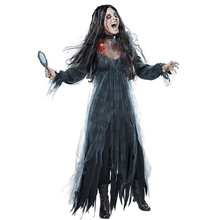 Adult Women Halloween Scary Zombie Ghost Bride Fancy Dress Graveyard Corpse Costume Black Split Long