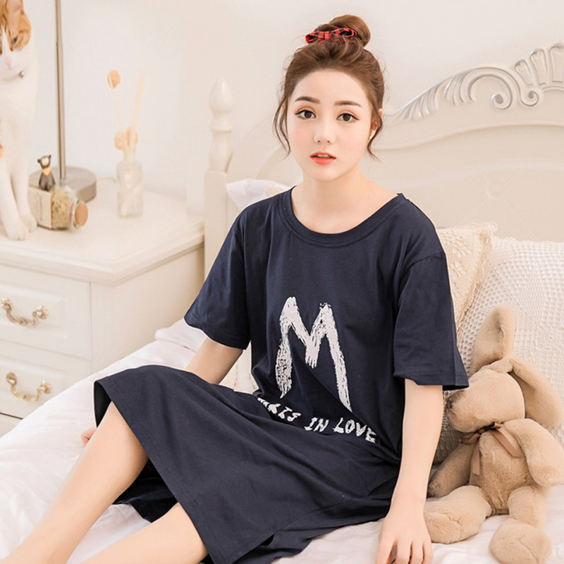 Yidanna women nightgown cotton sleepshirt simple sleep clothing short sleeved sleepwear female pyjamas girl nightdress in summer