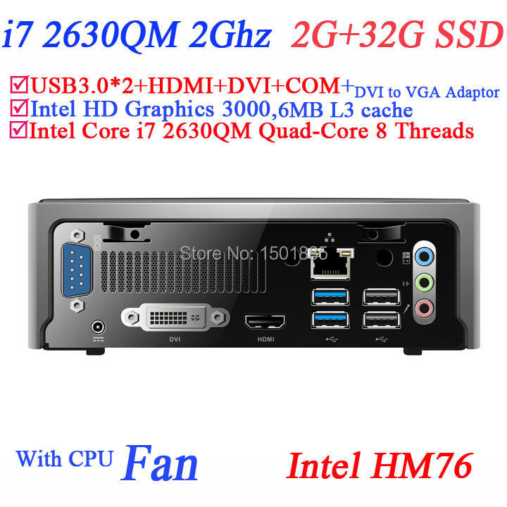 OEM quad core computer,mini linux embedded pc from china supplier with Intel Quad Core i7 2630QM 2.0Ghz 8 threads