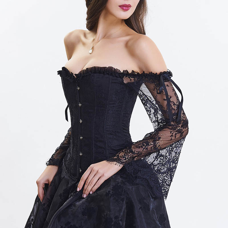 Victorian White Lace Off Shoulder Flare Sleeve Ruffle Strapless   Corsets  &  Bustiers   Burlesque Sexy   Corset     Bustier   Gothic Clothes