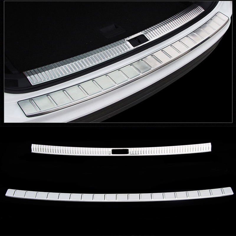 KOUVI Stainless Steel Accessories Rear Bumper Protector Sill plate cover For VW Volkswagen Tiguan 2017 2018 Car Styling stainless steel rear bumper protector plate sill trunk guard cover trim 2pcs accessories for volkswagen vw tiguan l 2017