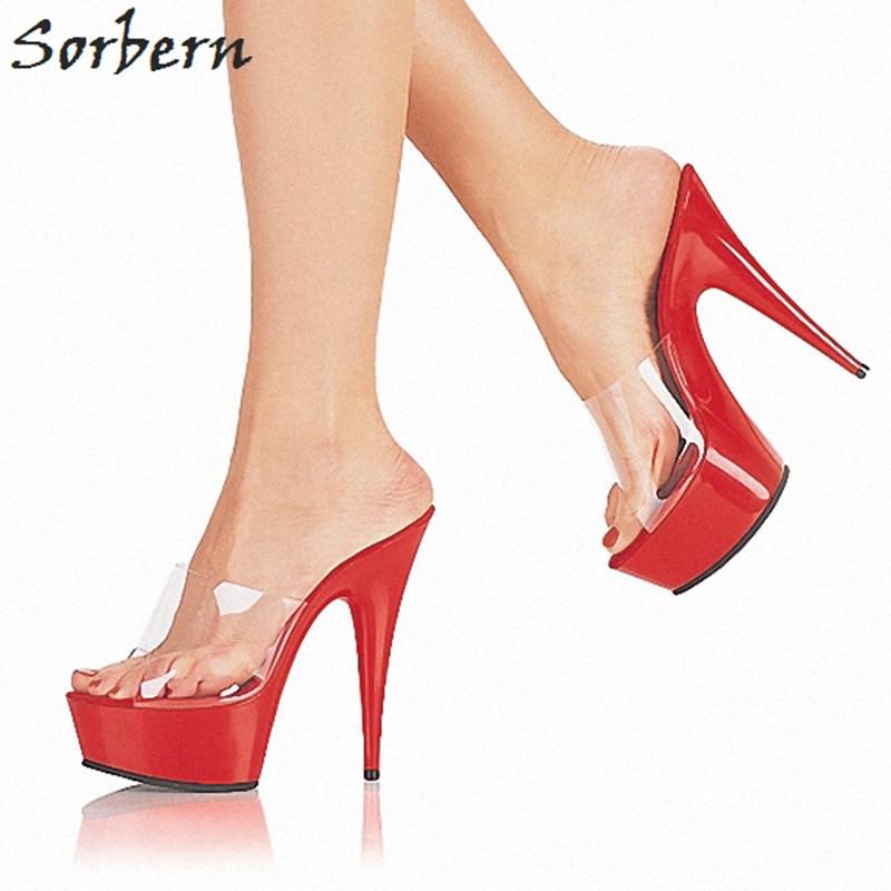 Sorbern 15 Cm Super hauts talons pantoufles intérieur maison pantoufles printemps été chaussures femmes bout ouvert plate forme dames chaussures taille 12-in Pantoufles from Chaussures    1