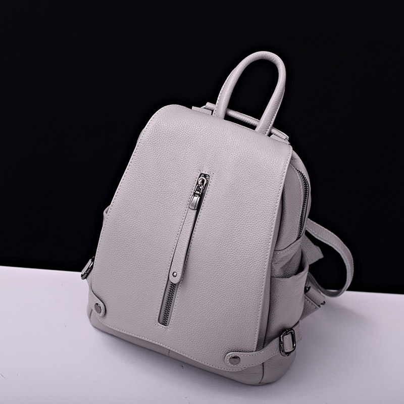 2017 Free Shipping Genuine Leather Backpacks First Layer Cow Leather Girls Women Backpack School Bag Light Gray/ Pink /Black zency genuine leather backpacks female girls women backpack top layer cowhide school bag gray black pink purple black color