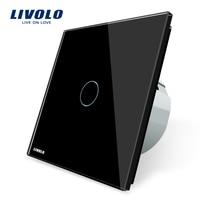 Free Shipping Livolo EU Standard Touch Switch VL C701 12 Black Crystal Glass Switch Panel Wall