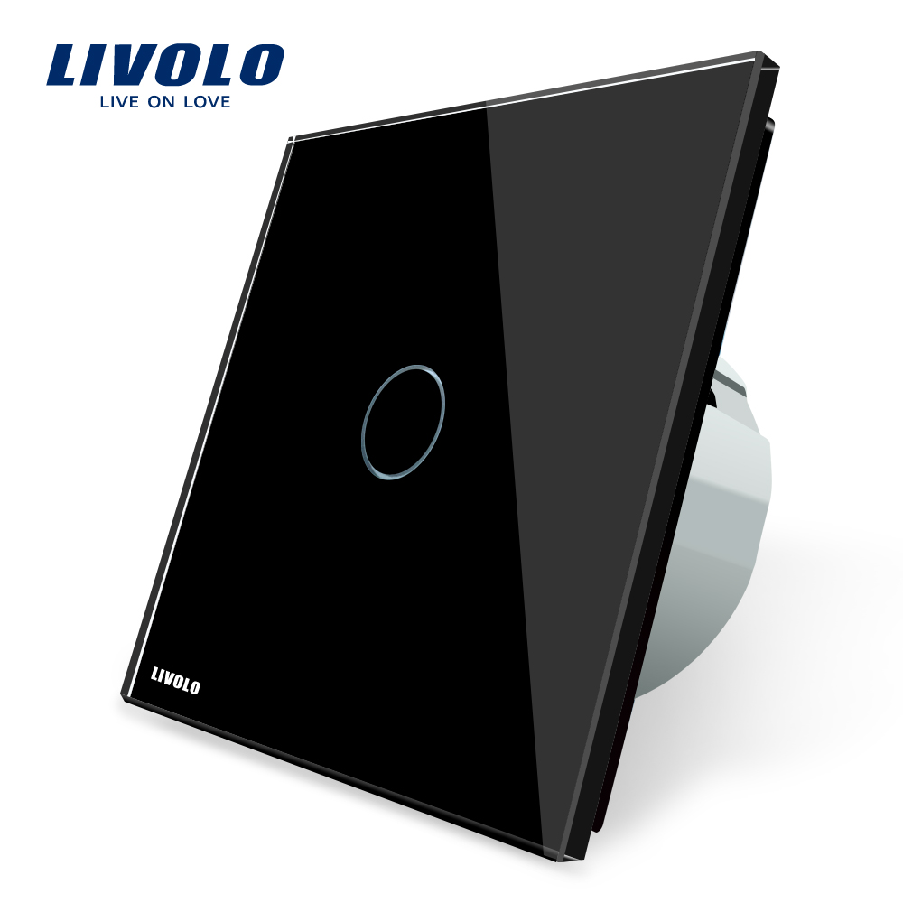 Free Shipping, Livolo Wall Light Touch Switch,AC 220~250V , VL-C701-12, Black Crystal Glass Switch Panel 2017 free shipping smart wall switch crystal glass panel switch us 2 gang remote control touch switch wall light switch for led