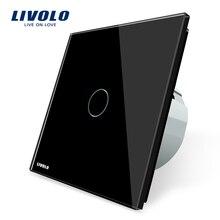 Livolo ЕС стандартный настенный светильник сенсорный выключатель, AC 220 ~ 250 В, vl-c701-12, черный Кристалл Стекло переключатель Панель