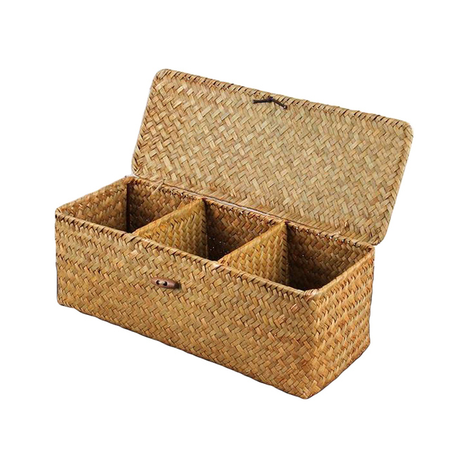 Genial Wicker Storage Baskets Hand Woven Rectangle Tea Bags Storage Box Chest  Wooden Organizer Compartments Display Multi