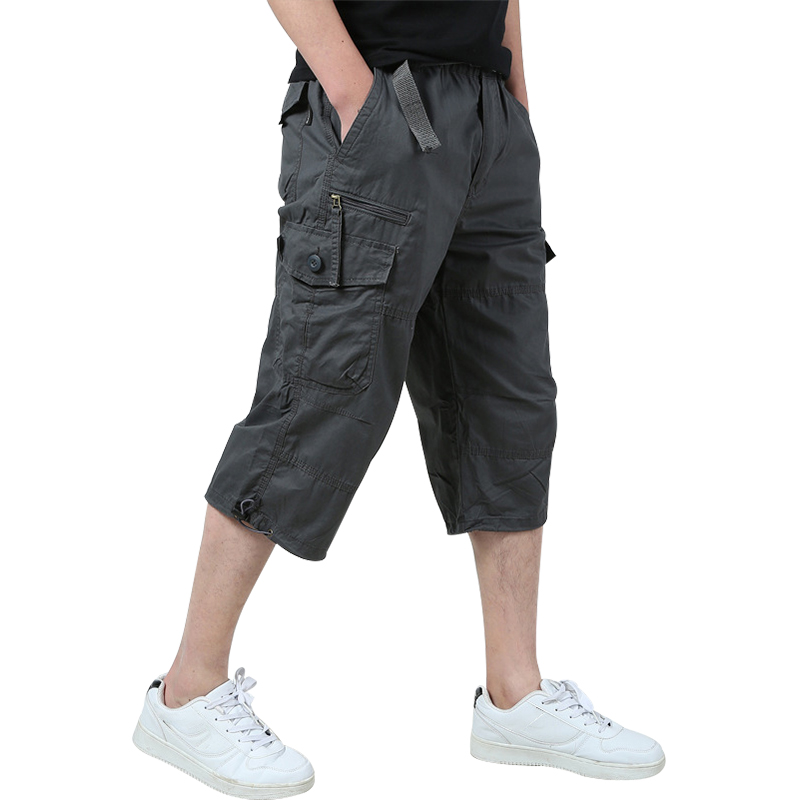 Summer Mens Baggy Multi Pocket Military Zipper Cargo Shorts breeches Male 3 colors Mens Tactical Shorts Plus Size