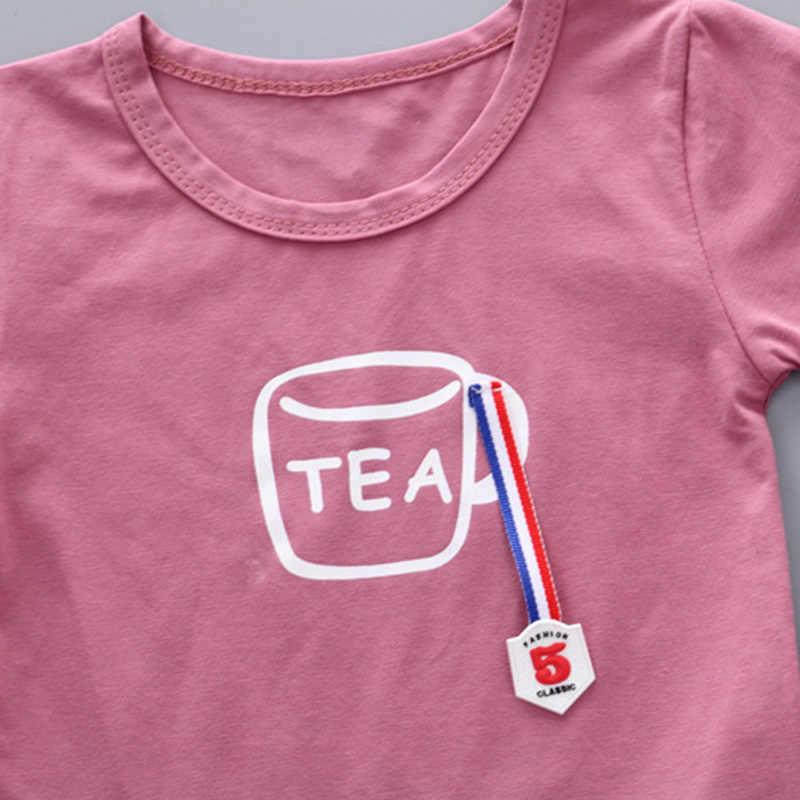 Ropa de verano para niños, niñas, ropa para niños, conjunto de trajes para bebés, té, camiseta + pantalones cortos de 1 a 5 años