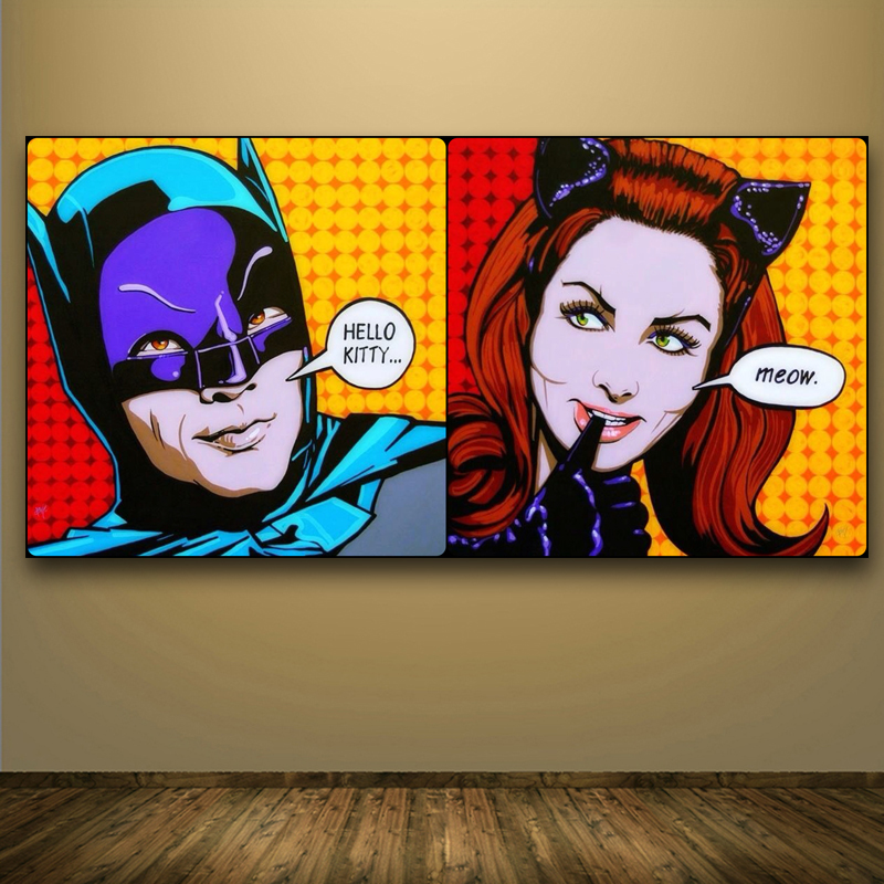 No Frame Printed Andy Warhol and Roy Lichtenstein Painting on canvas pop art print poster picture for home decoration