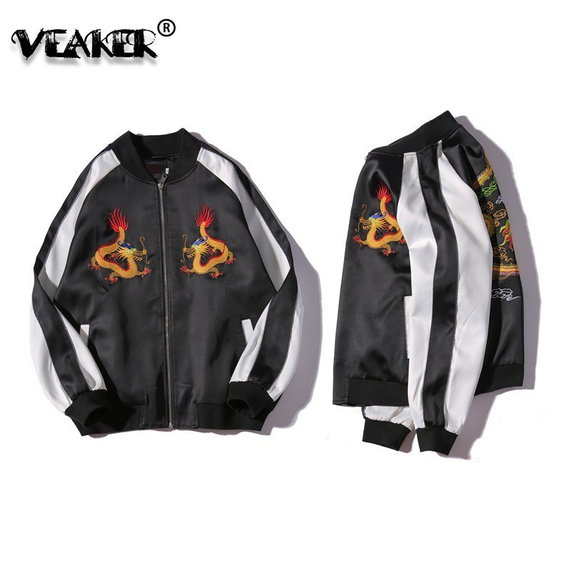 Bomber Jackets Chinese Style Dragon Phoenix Flower Embroidered Jacket Men Women Satin Vintage Baseball Jacket Coat 2018 Autumn