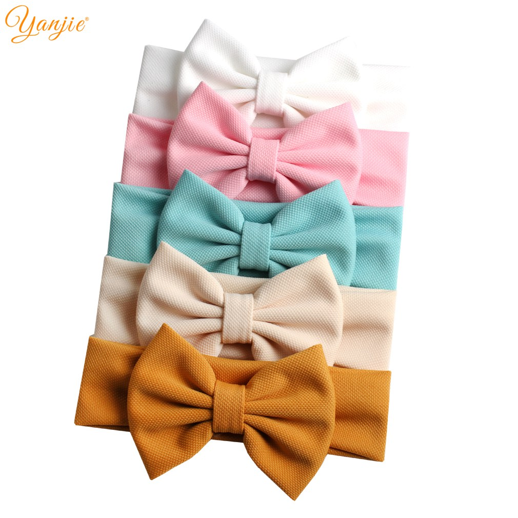 2019 New 5'' Hair Bows Headband For Girls Chic Solid Spring Hairband Hair Ties For Kids DIY Girls Hair Accessories Headwear