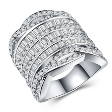 Huitan High Quality Geometric Present Ring For Women Full Of Dazzling Crystal CZ Stone Luxury Birthday Gift Wife&Girlfriend