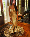 Oro de lujo de la Chispa Con Lentejuelas Vestidos de Baile 2017 de la Sirena Del Amor de Noche Largo Vestido de Fiesta robe de soirée