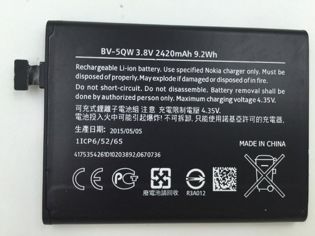 Free shipping high quality mobile phone battery BV-5QW for Nokia iCOM Lumia 929 Lumia 929+ Lumia 930 RM927 with good quality