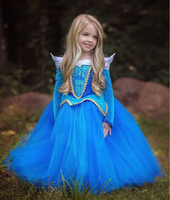 Princess Dress Girls Sleeping Beauty Halloween Cosplay Costume Kid Party Wear Clothes Summer Elsa 2016 Costume