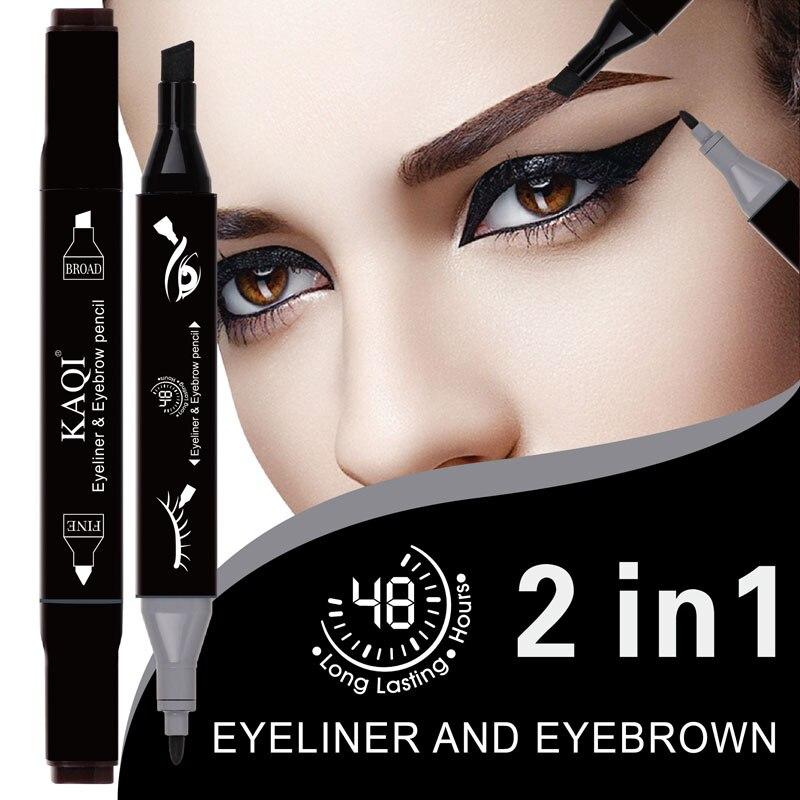 3 color  2in1 Mark's eyebrow pen double head Eyeliner Pen eyebrow pen waterproof durable eye line