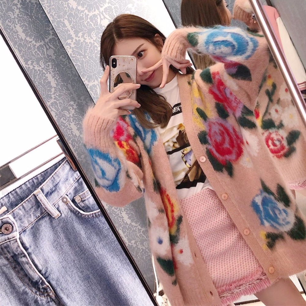 Rose pattern mohair knitted cardigan women medium long cute sweater 2018 autumn and winter new arrival